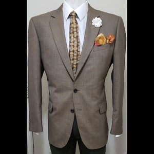 44R Jos A Bank Reserve Check Silk  Wool Sport Coat